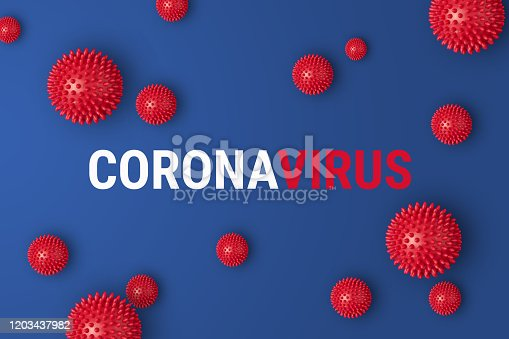 istock Abstract banner coronavirus strain model from Wuhan, China 1203437982