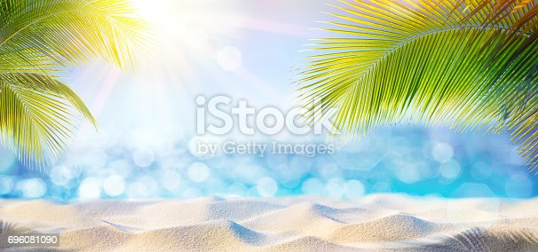 istock Abstract Beach Background - Sand At Shadows Of Palm Tree 696081090