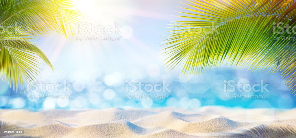 Abstract Beach Background - Sand At Shadows Of Palm Tree stock photo