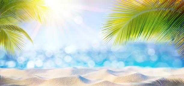 Abstract Beach achtergrond - zand op de schaduw van de palmboom foto