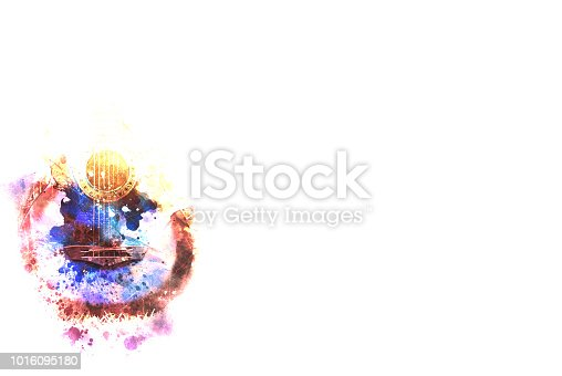 istock Abstract beautiful acoustic guitar in the foreground on Watercolor painting background and Digital illustration brush to art. 1016095180