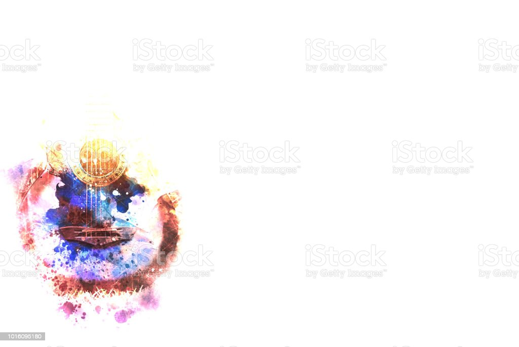 Abstract beautiful acoustic guitar in the foreground on Watercolor painting background and Digital illustration brush to art. stock photo
