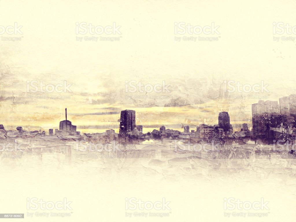 Abstract Beautiful Building In Capital On Watercolor Painting Background City Digital Illustration Brush To