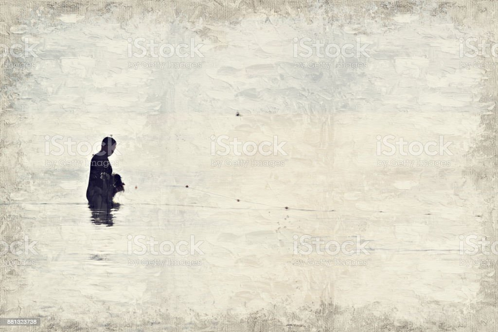 Abstract beautiful fisherman fishing on oil watercolor painting background. stock photo