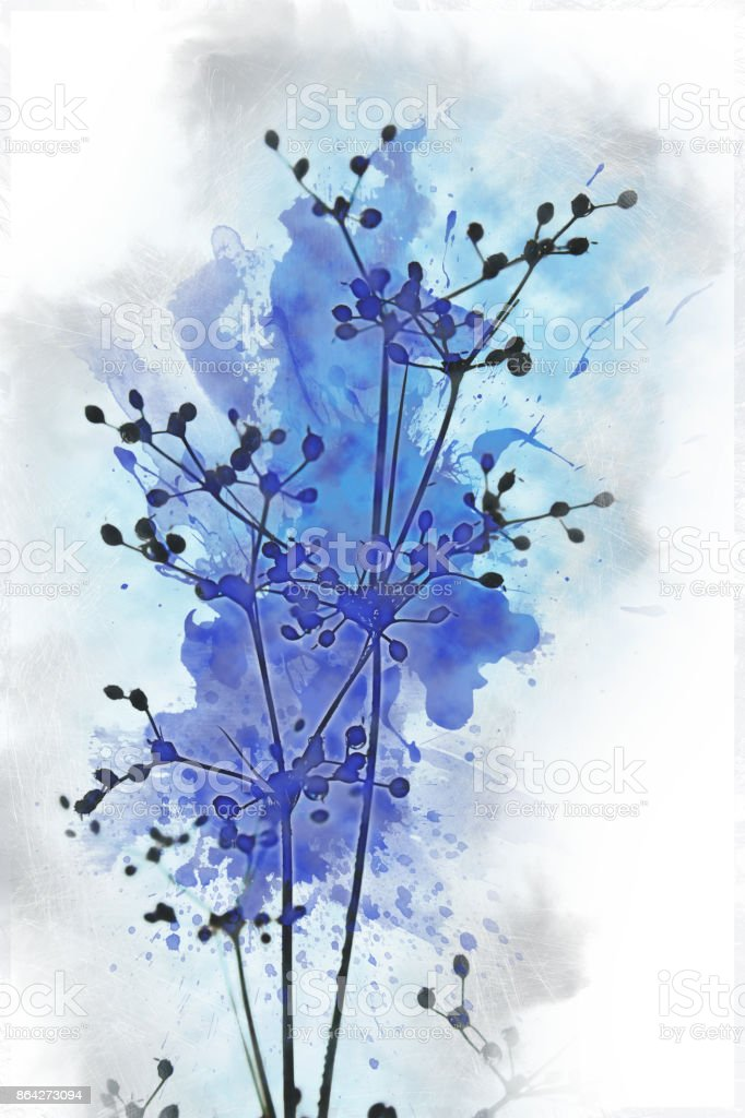 Abstract beautiful flower on blue colorful watercolor painting background. royalty-free stock photo