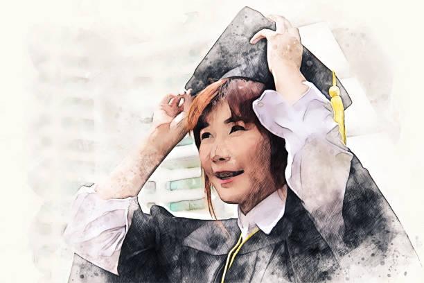 추상 아름 다운 여자 학생 들 수채화 일러스트 그림 배경에서 졸업. - double exposure 뉴스 사진 이미지