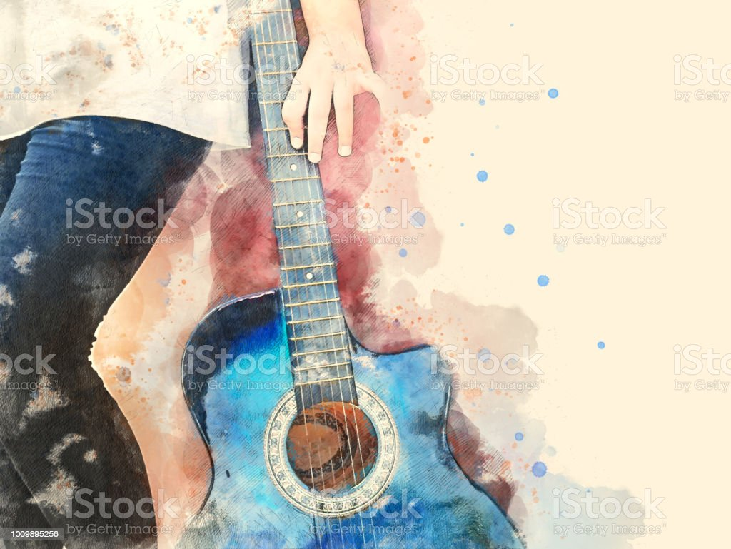 Abstract beautiful girl teen playing acoustic Guitar in the foreground on Watercolor painting background and Digital illustration brush to art. stock photo