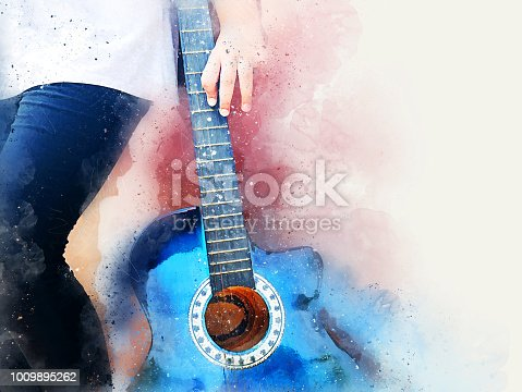 istock Abstract beautiful girl teen playing acoustic Guitar in the foreground on Watercolor painting background and Digital illustration brush to art. 1009895262