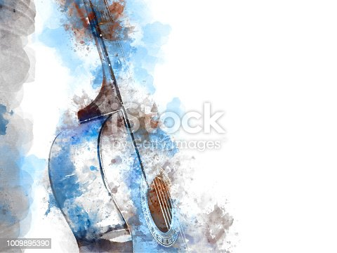 istock Abstract beautiful girl teen playing acoustic Guitar in the foreground on Watercolor painting background and Digital illustration brush to art. 1009895390