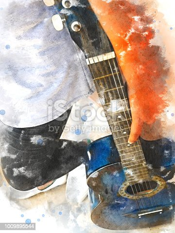 istock Abstract beautiful girl teen playing acoustic Guitar in the foreground on Watercolor painting background and Digital illustration brush to art. 1009895544