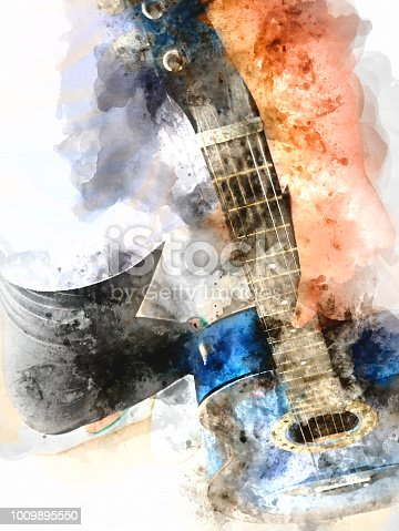istock Abstract beautiful girl teen playing acoustic Guitar in the foreground on Watercolor painting background and Digital illustration brush to art. 1009895550