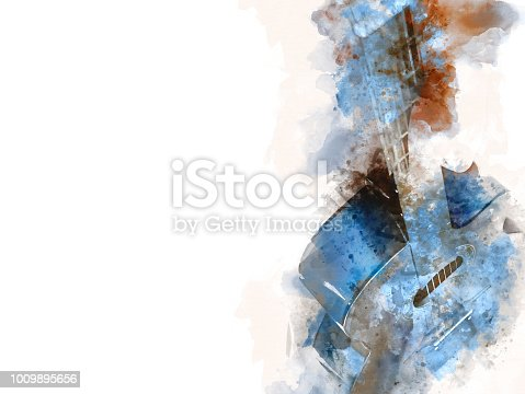 istock Abstract beautiful girl teen playing acoustic Guitar in the foreground on Watercolor painting background and Digital illustration brush to art. 1009895656