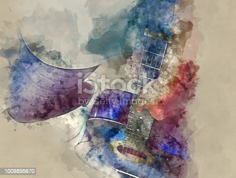 istock Abstract beautiful girl teen playing acoustic Guitar in the foreground on Watercolor painting background and Digital illustration brush to art. 1009895670