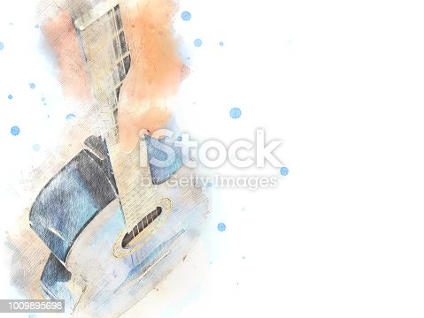 istock Abstract beautiful girl teen playing acoustic Guitar in the foreground on Watercolor painting background and Digital illustration brush to art. 1009895698