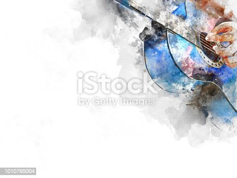 istock Abstract beautiful girl teen playing acoustic Guitar in the foreground on Watercolor painting background and Digital illustration brush to art. 1010765004