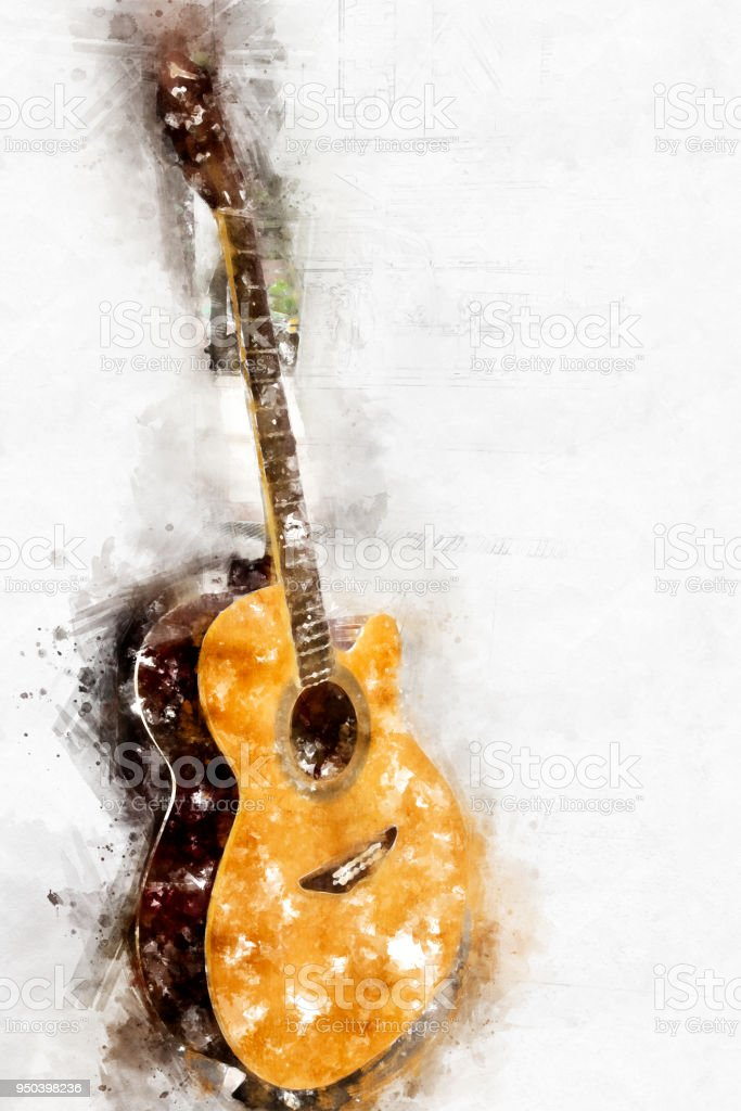 Abstract Beautiful Guitar Acoustic In The Foreground On Watercolor