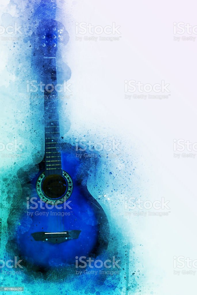Abstract beautiful Guitar in the foreground, Watercolor painting background and Digital illustration brush to art. stock photo