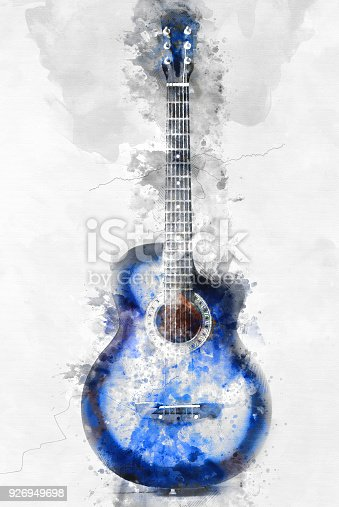 abstract beautiful guitar in the foreground watercolor painting background and digital. Black Bedroom Furniture Sets. Home Design Ideas