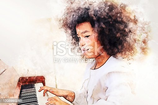 Abstract beautiful kid girl hand playing keyboard of the piano foreground Watercolor painting background and Digital illustration brush to art.