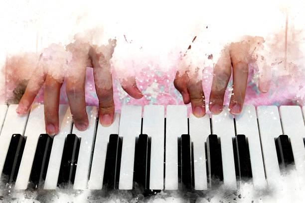 abstrakte schöne hand spielen tastatur klavier vordergrund aquarell hintergrund und digitale illustration pinsel zur kunst. - tastatur bilder stock-fotos und bilder