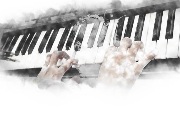 résumé de belle main jouant le clavier du piano premier plan fond aquarelle et pinceau illustration numérique à l'art. - batterie musique photos et images de collection