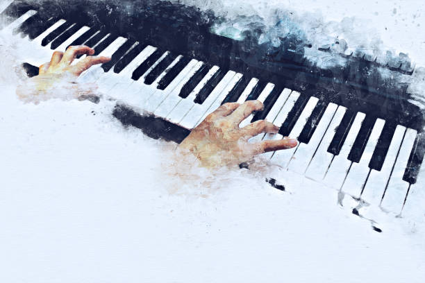 Abstract beautiful hand playing keyboard of the piano foreground Watercolor painting background and Digital illustration brush to art. Abstract beautiful hand playing keyboard of the piano foreground Watercolor painting background and Digital illustration brush to art. string instrument stock pictures, royalty-free photos & images