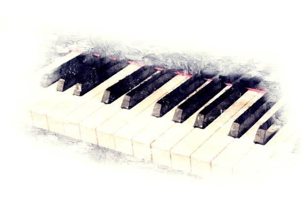 abstrakte schöne tastatur klavier vordergrund aquarell hintergrund und digitale illustration pinsel zur kunst. - tastatur bilder stock-fotos und bilder