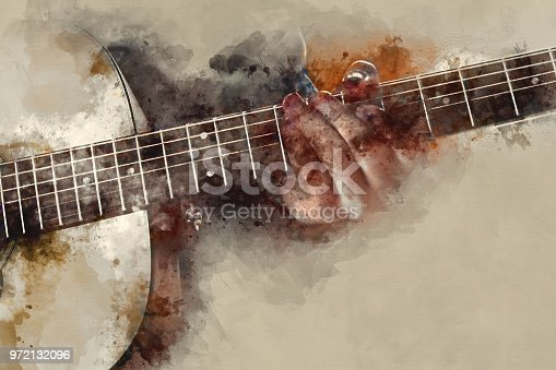 istock Abstract beautiful man playing Guitar in the foreground on Watercolor painting background and Digital illustration brush to art. 972132096