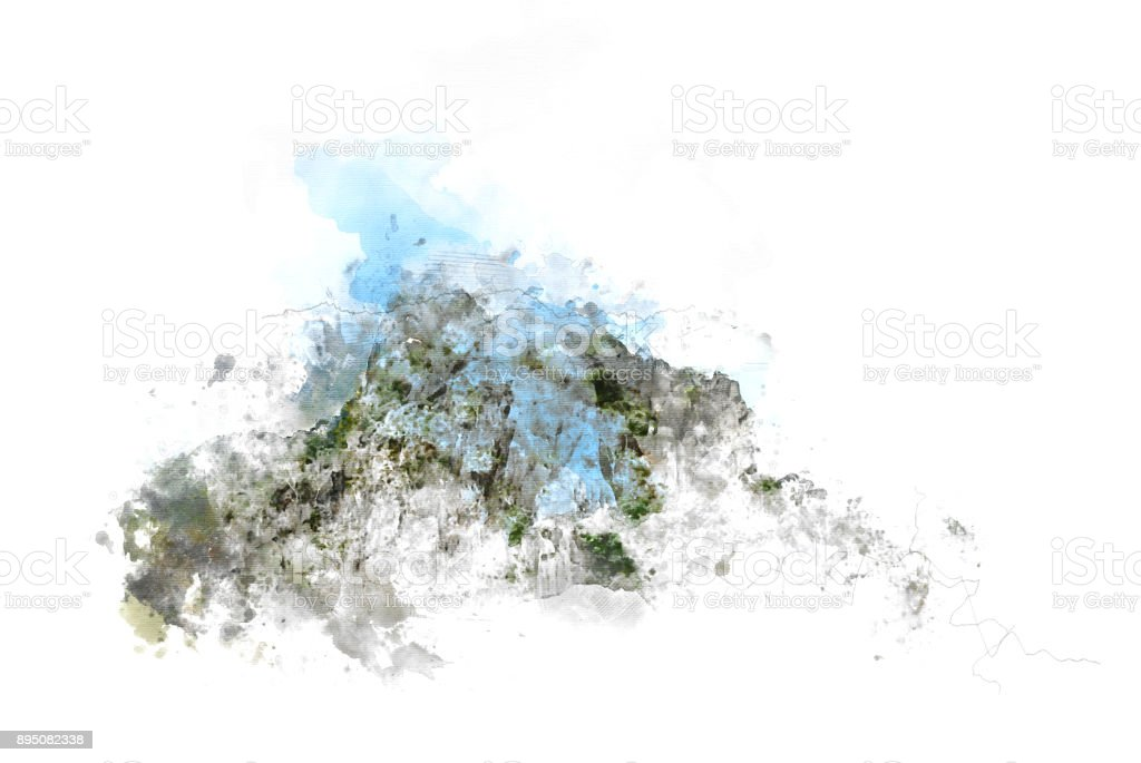 Abstract beautiful Mountain hill on painting background and Digital picture convert to art. stock photo