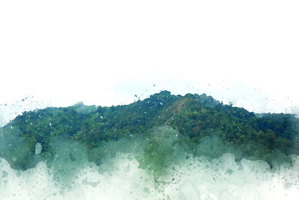 abstrakte schöne berghügel aquarell hintergrund und digitale bild konvertieren in kunst. - waldmalerei stock-fotos und bilder