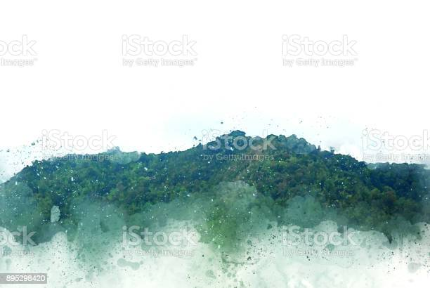 Photo of Abstract beautiful Mountain hill on watercolor painting background and Digital picture convert to art.