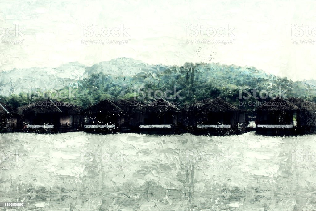 Abstract beautiful mountain silhouette, soft wave river and soft sunlight on oil watercolor painting background. stock photo