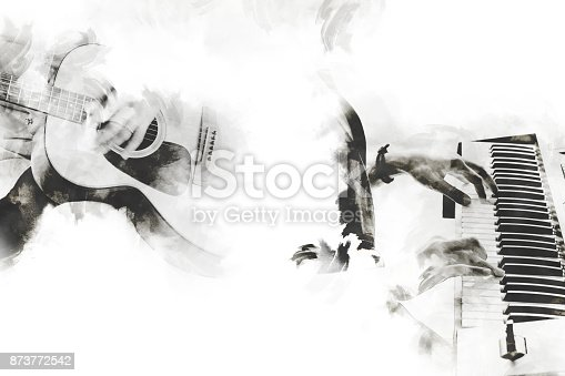 istock Abstract beautiful playing acoustic guitar and piano on Watercolor painting background and Digital illustration brush to art. 873772542