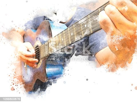 istock Abstract beautiful playing acoustic Guitar in the foreground on Watercolor painting background and Digital illustration brush to art. 1056800876