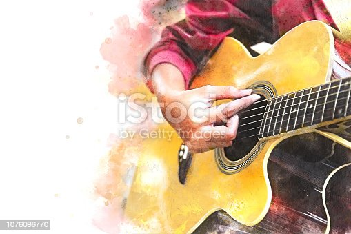 istock Abstract beautiful playing acoustic Guitar in the foreground on Watercolor painting background and Digital illustration brush to art. 1076096770