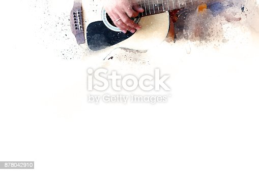 istock Abstract beautiful playing Guitar in the foreground on Watercolor painting background and Digital illustration . 878042910