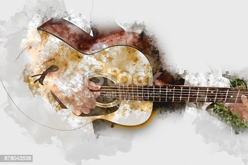istock Abstract beautiful playing Guitar in the foreground on Watercolor painting background and Digital illustration . 878043538