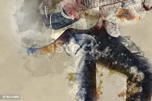 istock Abstract beautiful playing Guitar in the foreground on Watercolor painting background and Digital illustration . 878044986
