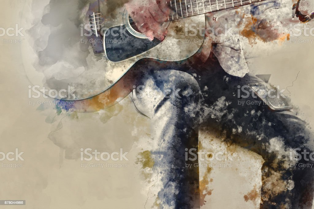 Abstract beautiful playing Guitar in the foreground on Watercolor painting background and Digital illustration . stock photo