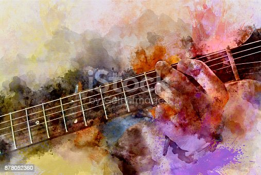 istock Abstract beautiful playing Guitar in the foreground on Watercolor painting background and Digital illustration . 878052360