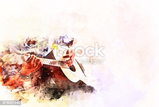 istock Abstract beautiful playing Guitar in the foreground on Watercolor painting background and Digital illustration . 878052440