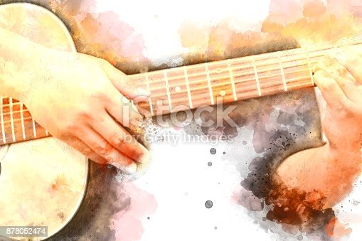 istock Abstract beautiful playing Guitar in the foreground on Watercolor painting background and Digital illustration . 878052474
