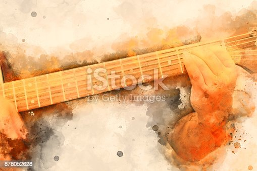 istock Abstract beautiful playing Guitar in the foreground on Watercolor painting background and Digital illustration . 878052628