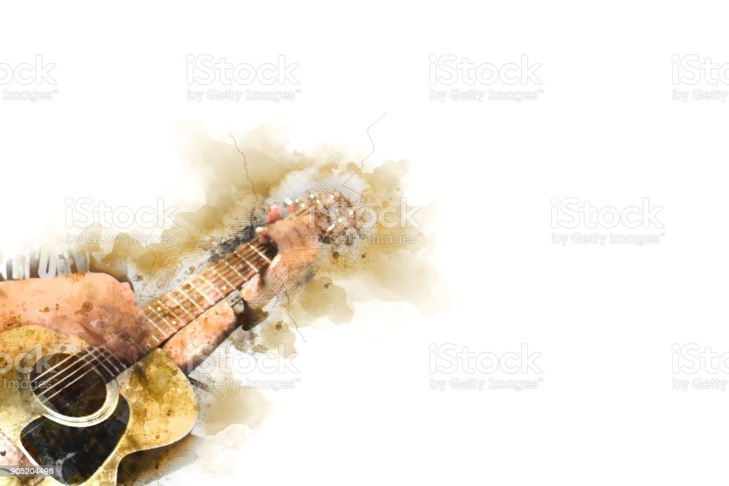 Abstract beautiful playing Guitar in the foreground on Watercolor painting background and Digital illustration brush to art. stock photo
