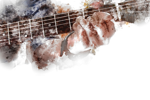istock Abstract beautiful playing Guitar in the foreground on Watercolor painting background and Digital illustration brush to art. 905591618