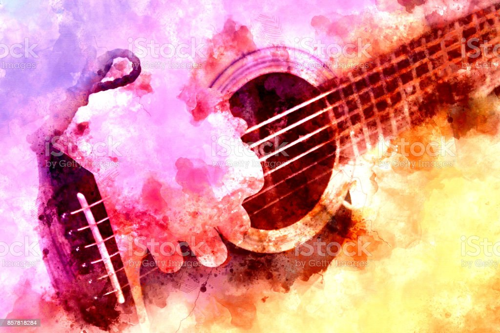 Abstract beautiful playing Guitar in the foreground, Watercolor painting background and Digital illustration brush to art. stock photo
