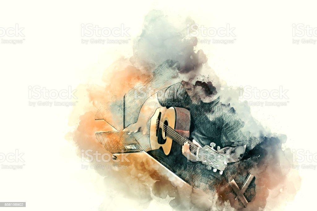Abstrata bela tocar guitarra no primeiro plano, fundo de pintura em aquarela e pincel de ilustração Digital à arte. - foto de acervo