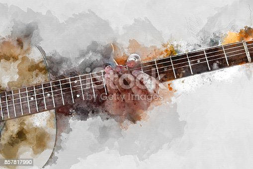 istock Abstract beautiful playing Guitarist in the foreground, Watercolor painting background and Digital illustration brush to art. 857817990