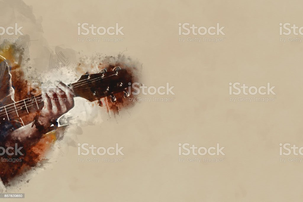 Abstract beautiful playing Guitarist in the foreground, Watercolor painting background and Digital illustration brush to art. stock photo