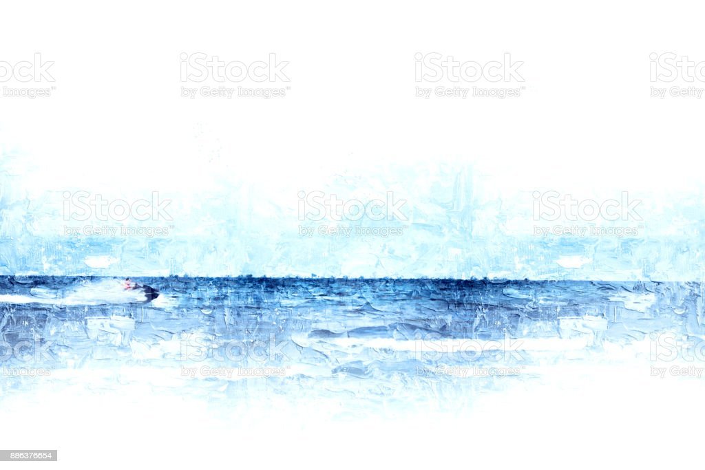 Abstract beautiful soft wave water sea on oil watercolor painting backgroud, Digital picture convert to art. stock photo